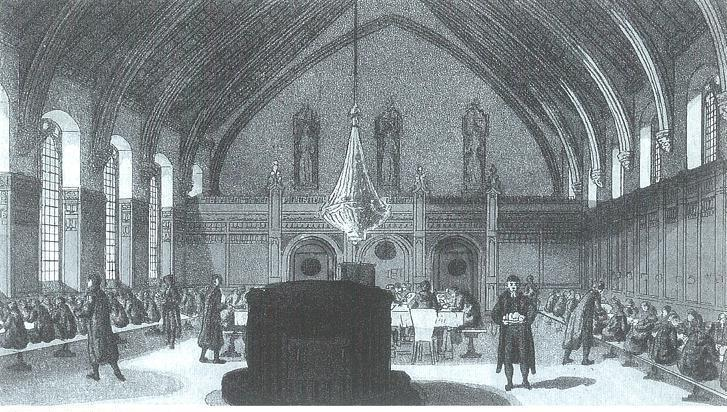 Dinner in the old hall. Mezzotint by Findlay, 1826. Image copyright © Professor Sir John Baker