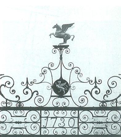 Wrought ironwork on the garden gate. By Richard Ellis, 1730. Image copyright © The Inner Temple