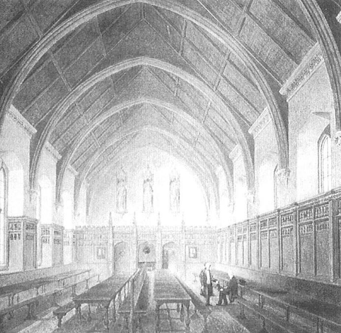 Interior of hall looking west, from a watercolour which shows the gothicisation carried out under Joseph Jekyll, Treasurer in 1816. Image copyright © The Inner Temple