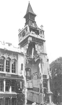 The Library tower after the air raid, 10th September 1940.