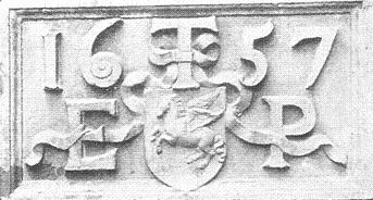 Plaque from No. 2, Inner Temple Lane, with the initials of Edmund Prideaux, Treasurer; removed to the Library in 1858, and destroyed in the Blitz. Image copyright © Professor Sir John Baker