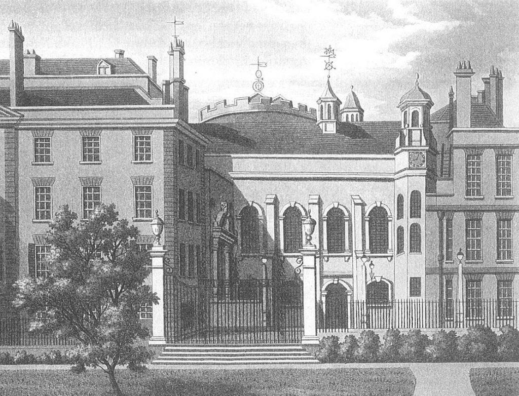 South side, from the gardens. Mezzotint by Samuel Ireland, 1800. Image copyright © Professor Sir John Baker