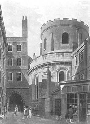 Temple Church. Inner TempleCourt aquatint by Thomas Malton, 1796. Image copyright © Professor Sir John Baker